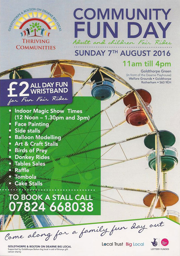 Goldthorpe Bolton Community Fun Day Poster
