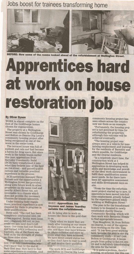 Dearne Community Housing - Newspaper Article