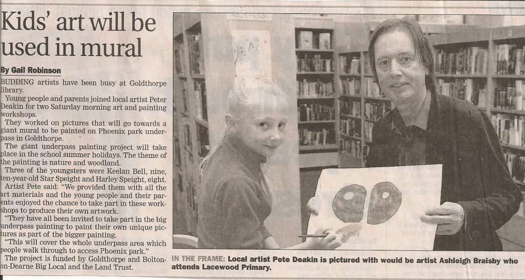 Goldthorpe Bolton Big Local Underpass Mural - Newspaper Article
